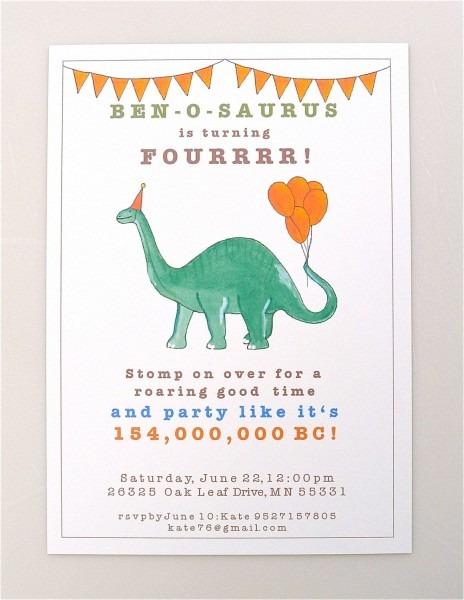 Printable Dinosaur Invitation Brontosaurus Boys Party