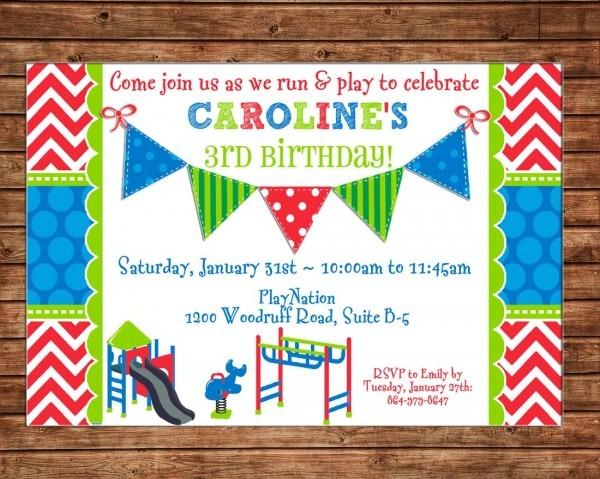 Boy Or Girl Invitation Playground Playdate Birthday Party