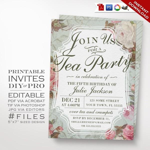 Diy Vintage Rose Tea Party Theme Birthday Invitation Printable