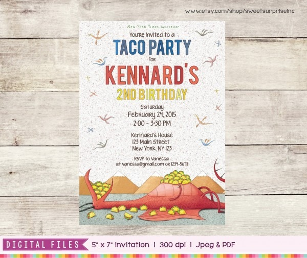 Dragons Love Tacos Invitation Printable   Digital Print