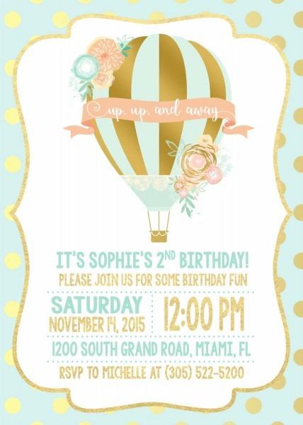 Hot Air Balloon Invitation, Hot Air Balloon Birthday Invitation