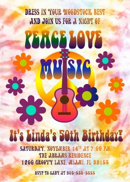 Hippie Birthday Invitation, Tie Dye Invitation, 60s Birthday Party