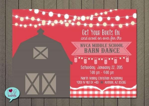 Barn Dance Hoe Down Western Dance School Dance Invitation