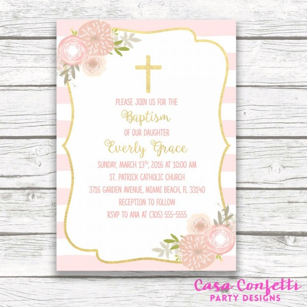 Baptism Invitation Girl, Pink And Gold Baptism Invitation, First