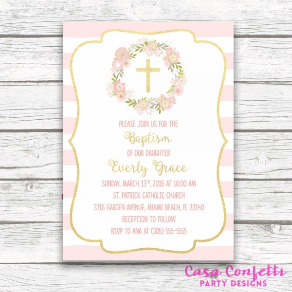 Baptism Invitation Girl, Christening Invitation Girl, First