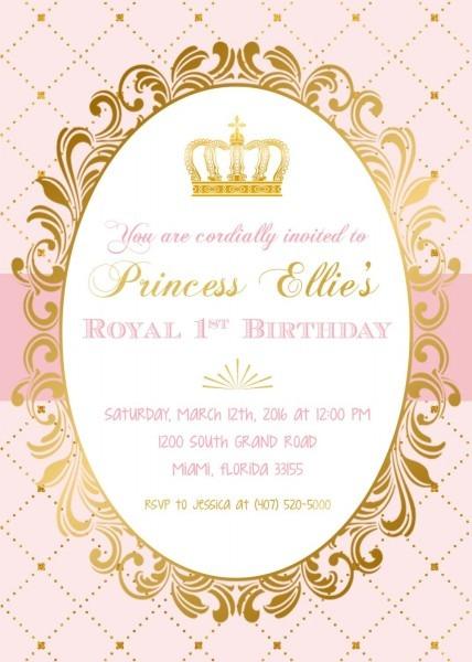 Princess Birthday Invitation, Princess Invitation, Pink And Gold