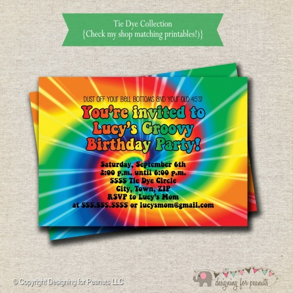 Tie Dye Birthday Invitations Items Similar To Tie Dye Invitations
