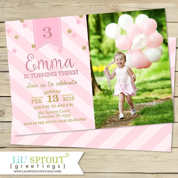 Third Birthday Invitation Pink And Gold Invitation Rbaeecbedfdc