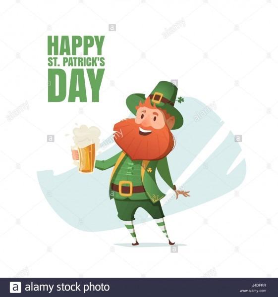 Illustration Of A Leprechaun With Beer Mug  Invitation To An Irish