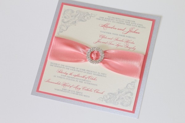 Couture Wedding Invitations In Coral, Ivory And Silver