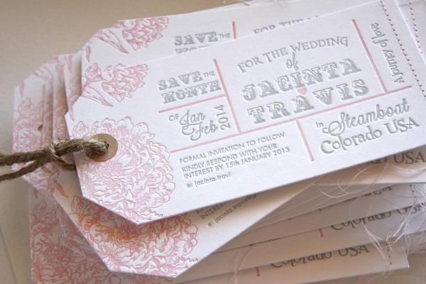 Fluid Ink Fine Letterpress Of Australia  Luggage Tag Save The Date