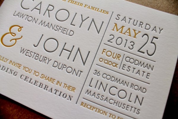Hobart And Haven  Yellow And Gray Letterpress Wedding Invitations