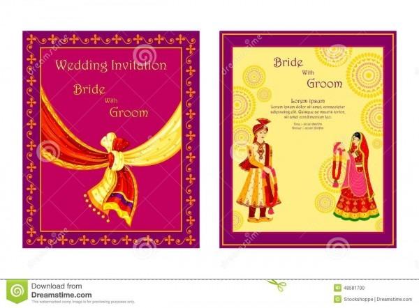 Indian Wedding Invitation Card Stock Vector
