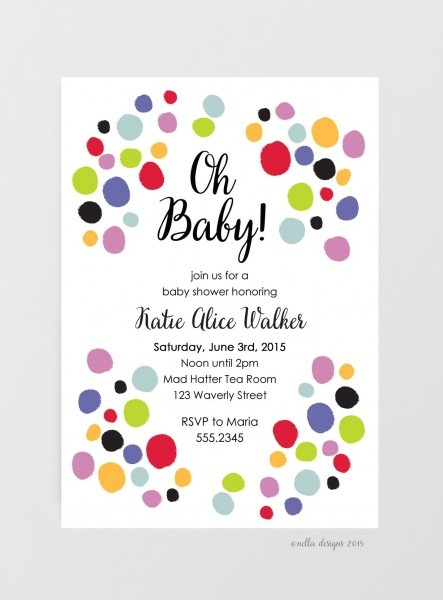 Inspirational Polka Dot Baby Shower Invitations 39 For Invitation