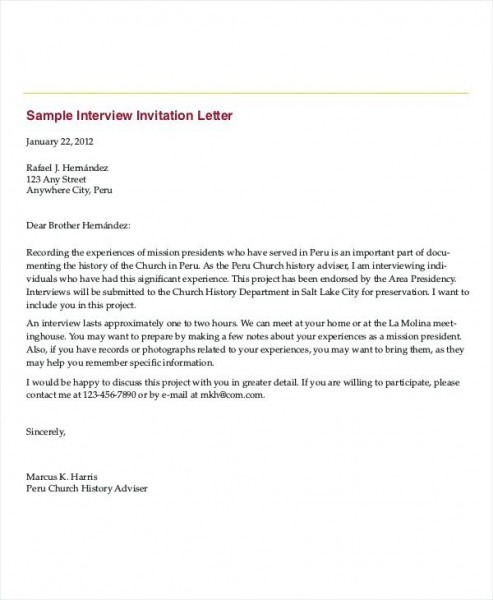 Sample Phone Interview Invitation Letter Examples Job