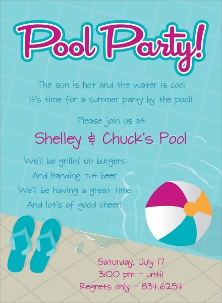 Invitatio Fancy Pool Party Invitation Wording