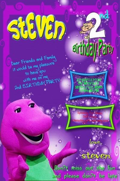 Barney Birthday Printable Invitation Cards Trials Ireland