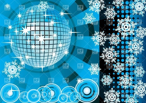 Invitation Card For Winter Party With Disco Ball Vector Image