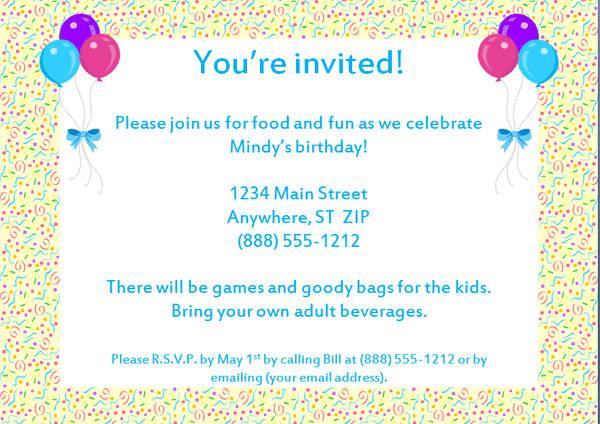 Invitation Fo New Birthday Party Invitation Sample
