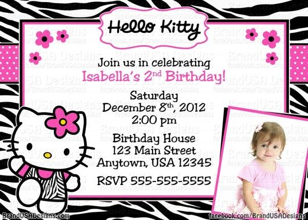 Invitation Hello Kitty Personalized Cute Kitty Party Invitation