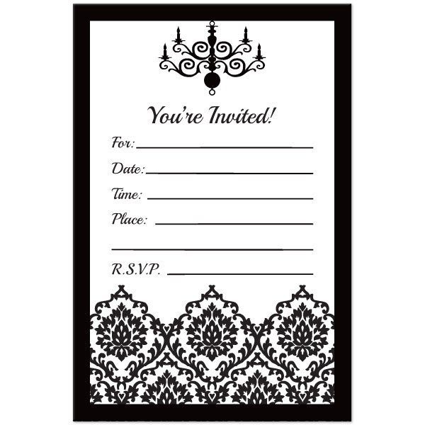 Invitation Template Black And Trend White Party Invitations