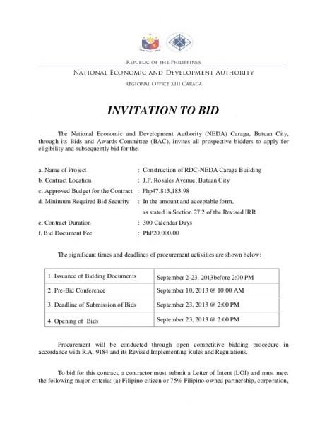 Invitation To Bid Template Beautiful With Invitation To Bid