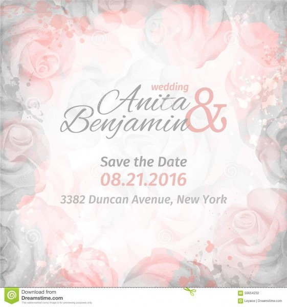 Invitation To The Wedding  Abstract Romantic Rose Background In