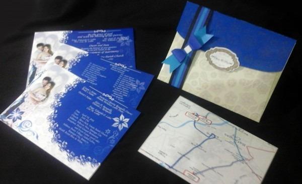 Wedding Invitations  Elegant In Royal Blue Motif ~ Stain Art