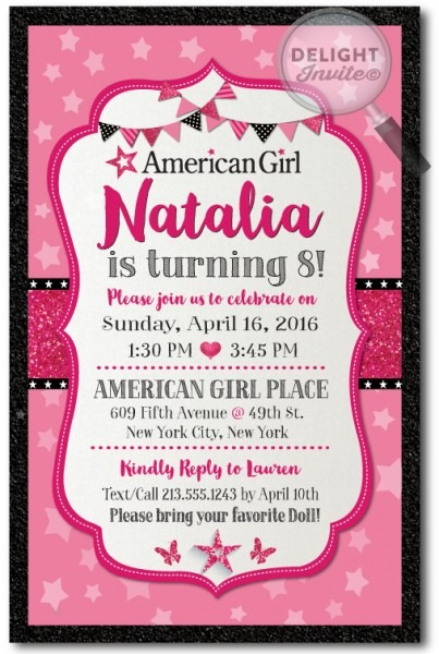 Elegant American Girl Birthday Party Invitations