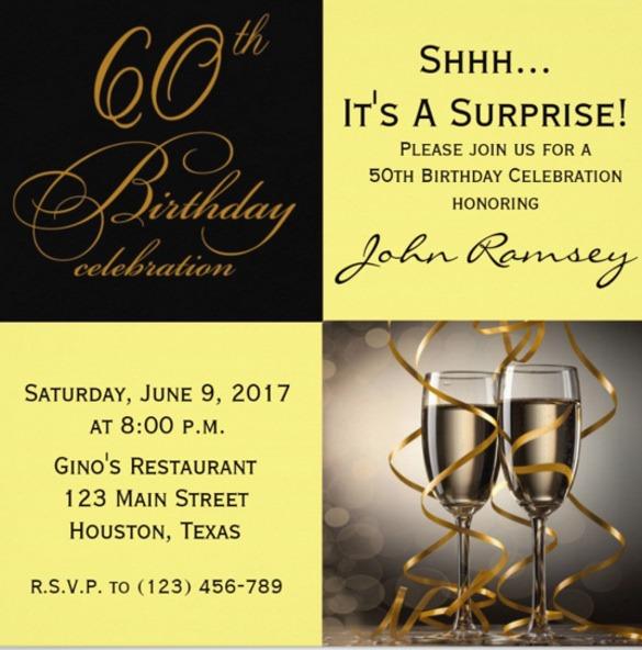 Free Th Bir New 60th Birthday Invitation Templates