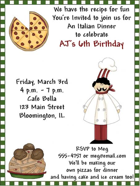 Fancy Italian Themed Birthday Party Invitations