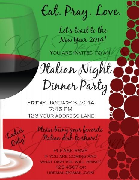 Italian Dinner Party Invitation Cool Party Theme Invitation
