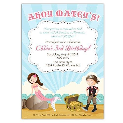 Iunppdmjl Popular Pirate Mermaid Party Invitations