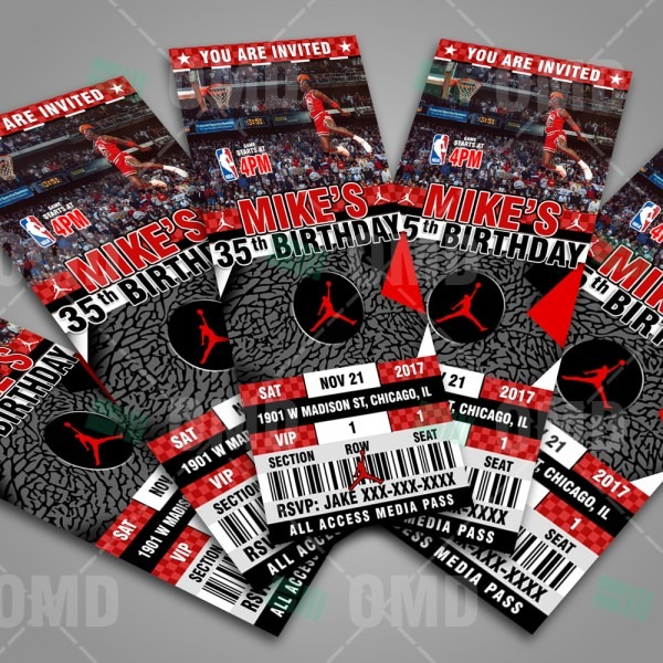 Air Jordan Sports Ticket Style Party Invites – Sports Invites