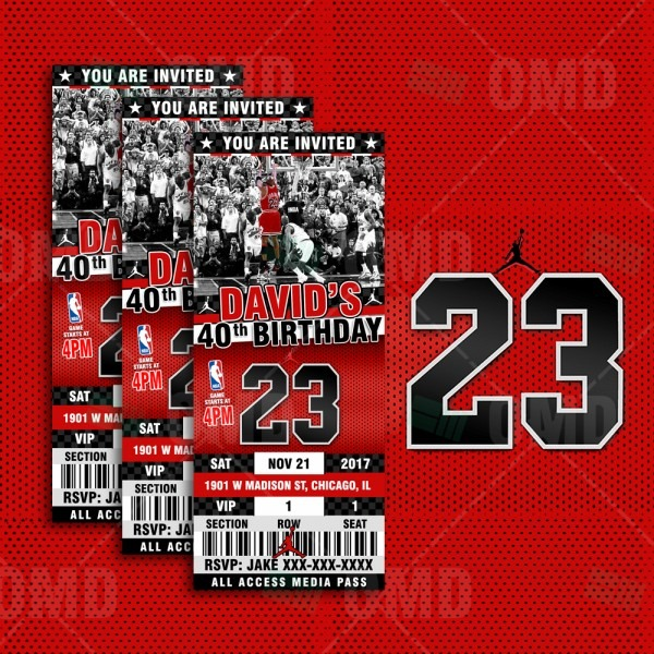 Air Jordan Ticket Style Sports Party Invites – Sports Invites