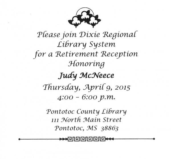 Invitation To Judy's Retirement Reception