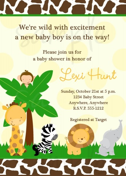 Jungle Theme Baby Shower Invitations Jungle Theme Baby Shower