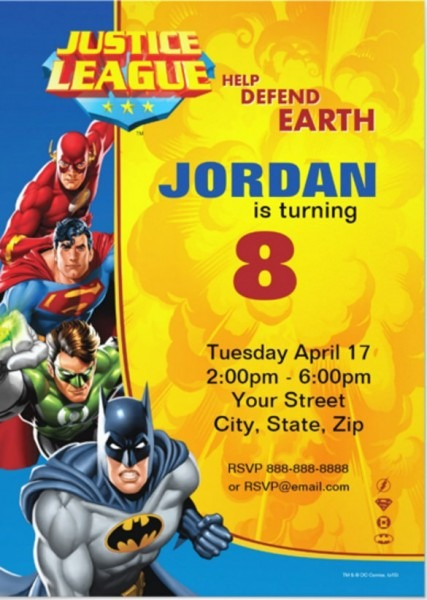 Abeecaabcaaecbdc Cute Justice League Birthday Invitations