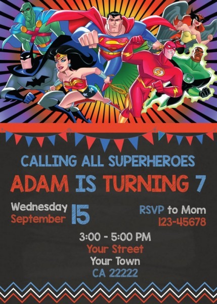 Justice League Birthday Invitations Printable Spectacular With