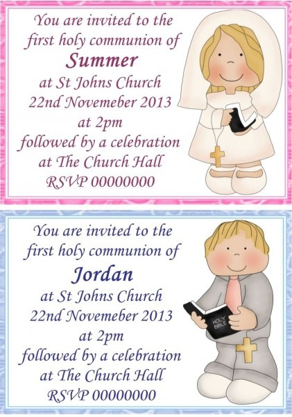 10 First Holy Communion Invitations Personalised Ref 1