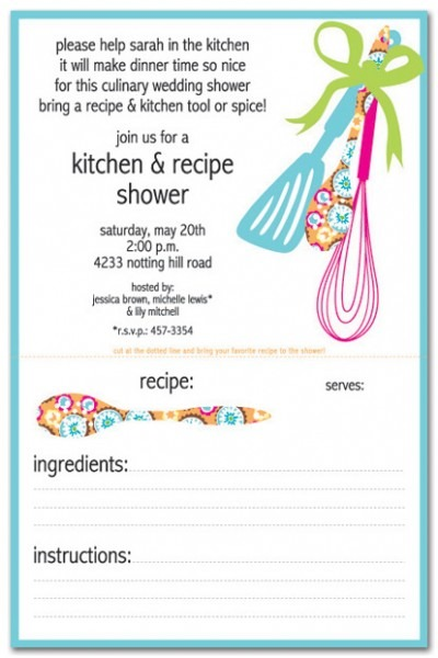 Imágenes De Kitchen Themed Bridal Shower Invitations With Recipe Card