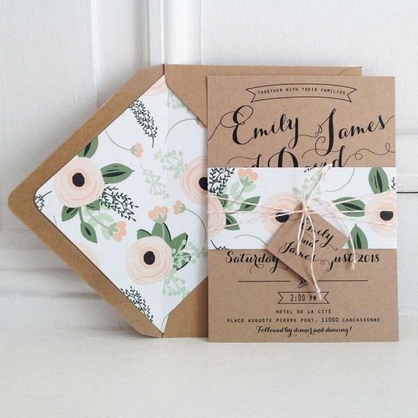 Kraft Wedding Invitation Suite, Kraft Lined Envelopes, Bakers