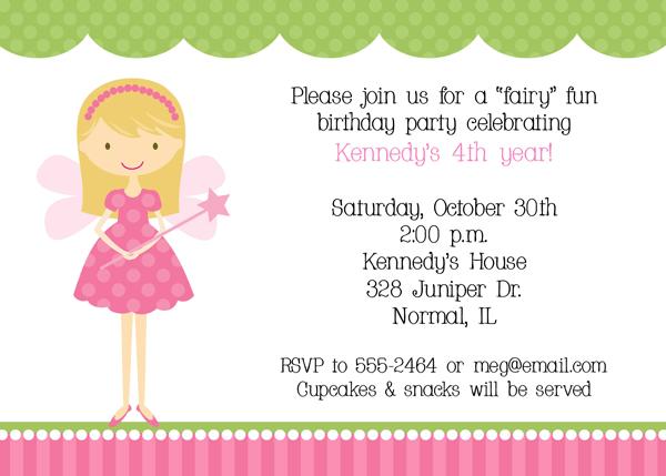 L Fresh Fairy Princess Birthday Invitations