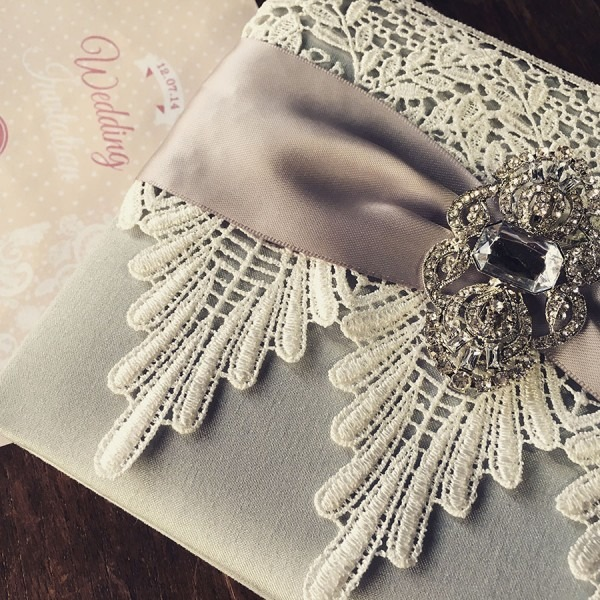 Lace Wedding Invitations Featuring Silver Dupioni Silk, Ivory Lace