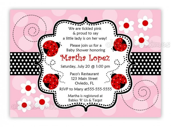 Pink And Black Ladybug Baby Shower Invitations • Baby Showers Ideas