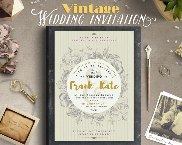 Retro   Vintage Style Wedding Invitation Design By Lavie1blonde On