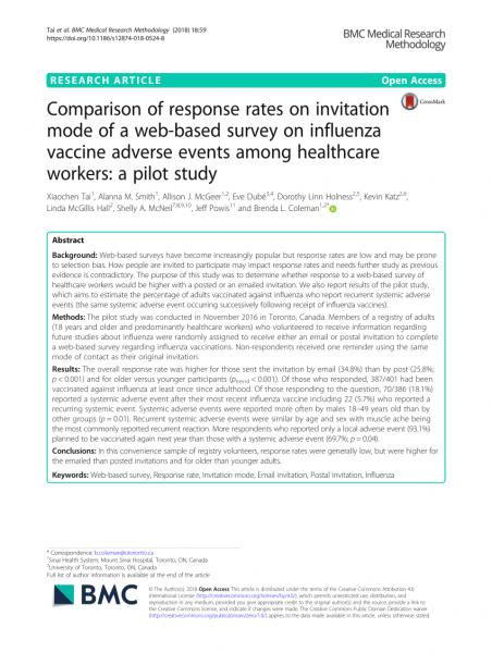 Pdf) Comparison Of Response Rates On Invitation Mode Of A Web