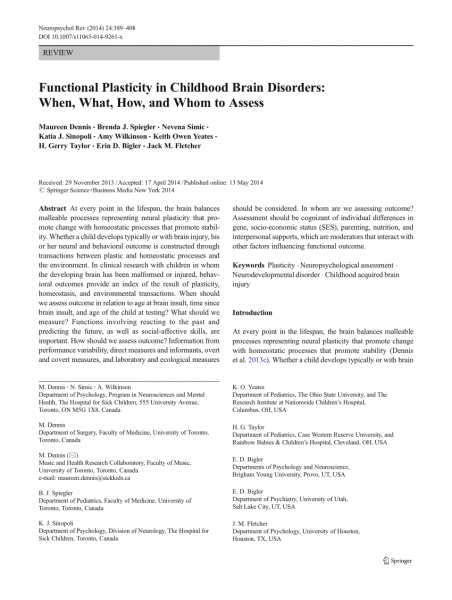 Pdf) Functional Plasticity In Childhood Brain Disorders  When