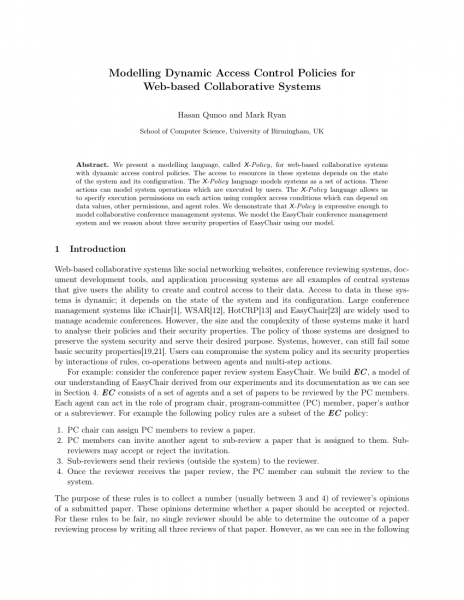 Pdf) Modelling Dynamic Access Control Policies For Web