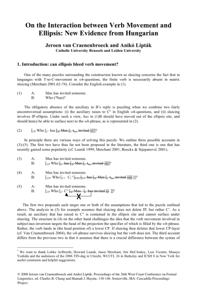 Pdf) On The Interaction Between Verb Movement And Ellipsis  New